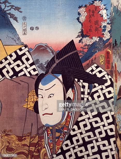 Portrait of Kabuki theater actor ukiyoe by Utagawa Toyokuni woodcut Japanese civilization Edo period