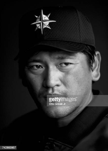 Portrait of Kazuhiro 'Daimajin' Sasaki of Japan pitcher for the Seattle Mariners during the Major League Baseball pre game against the Philadelphia...