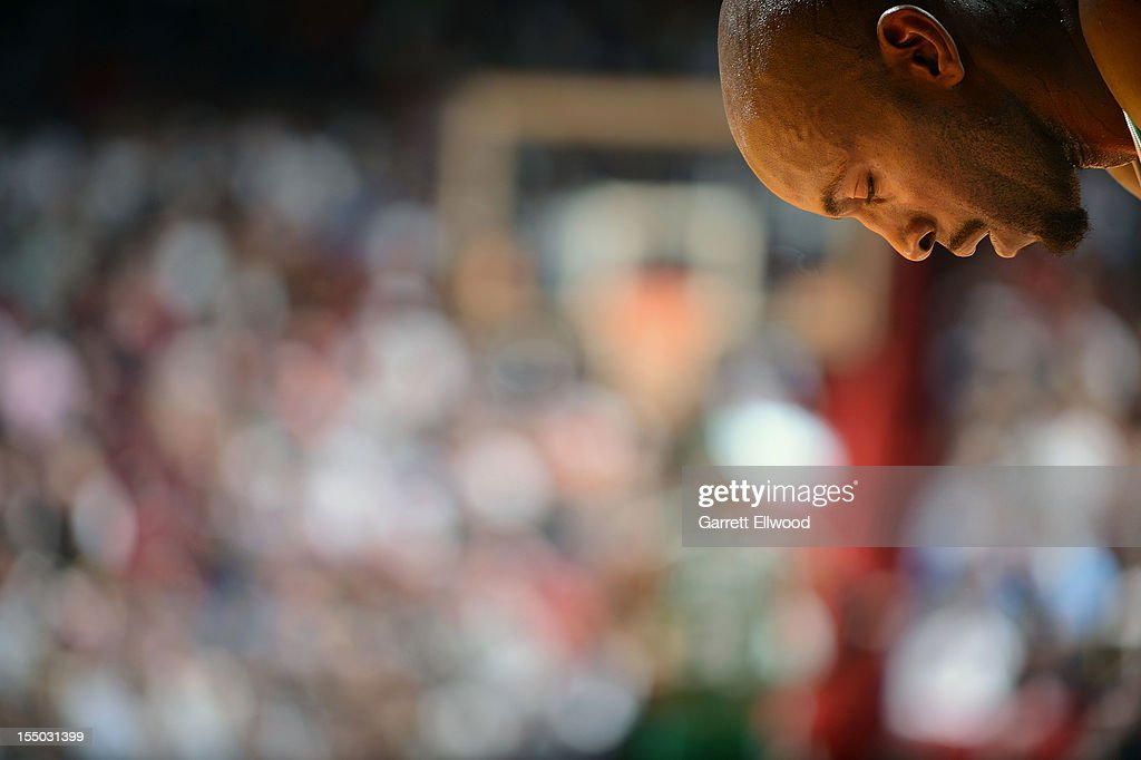 A portrait of Kevin Garnett #5 of the Boston Celtics taked during the NBA game against the Miami Heat on October 30, 2012 at American Airlines Arena in Miami, Florida.