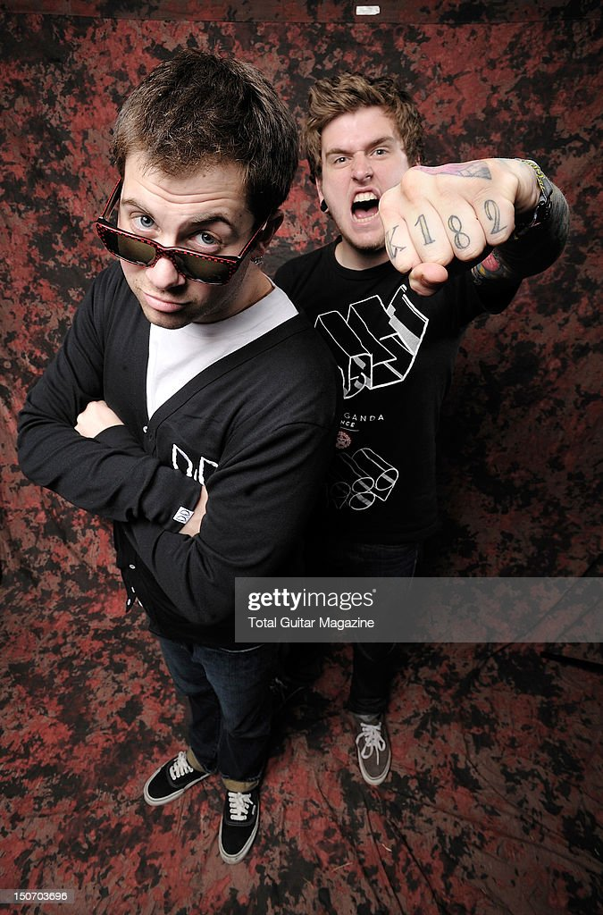 Portrait of Kevin Skaff (L) and Neil Westfall, guitarists with American rock group A Day to Remember, taken backstage at Download Festival on June 15, 2009.