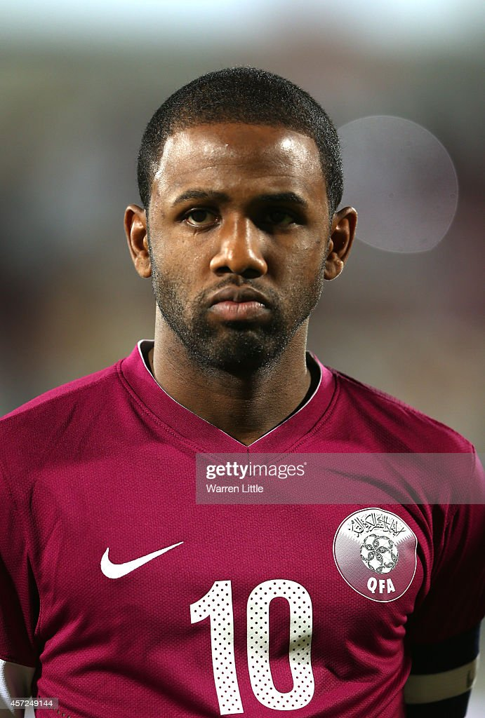 A portrait of Khalfan Ibrahim of Qatar ahead of the international friendly match between Qatar and Australia at the Abdullah Bin Khalifa Stadium on October 14, 2014 in Doha, Qatar.