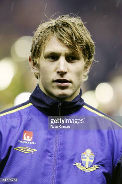 A portrait of Kim Kallstrom of Sweden prior to the friendly international match between Scotland and Sweden at Easter Road Stadium on November 17...