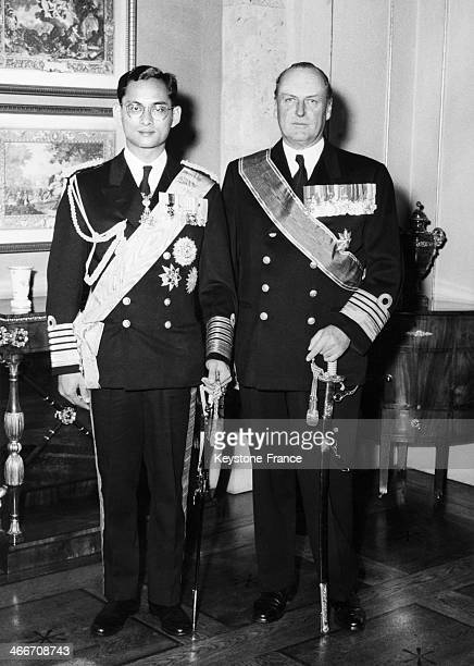 Portrait of King Bhumibol Adulyadej of Thailand aka Rama IX and King Olav V Of Norway at the palace of Oslo Norway