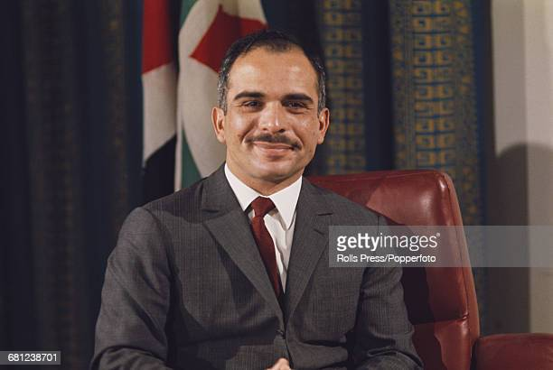 Portrait of King Hussein of Jordan pictured sitting at a desk in Amman Jordan in 1970 King Hussein would take a leading role in the command of...