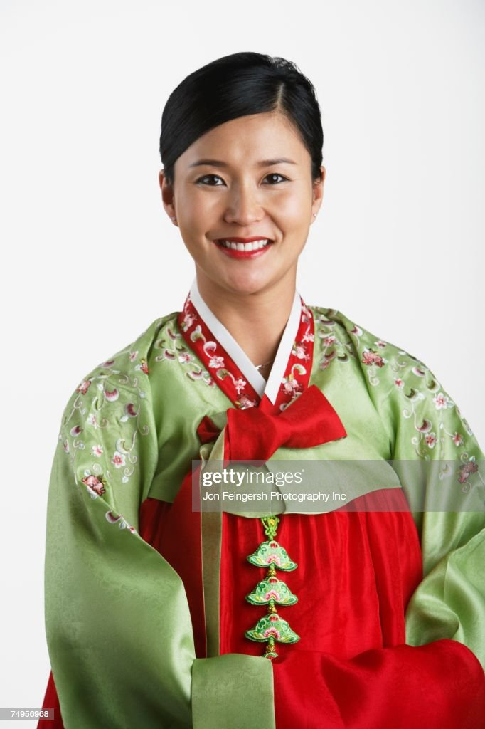 Portrait of Korean woman in traditional dress : Stock Photo