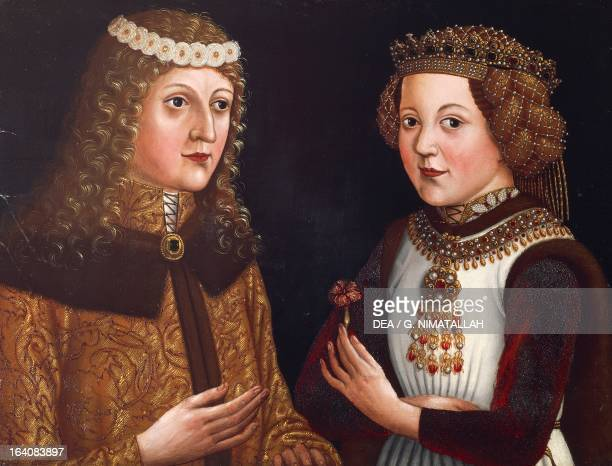 Portrait of Ladislaus the Posthumous King of Bohemia from 1445 and Hungary and Croatia from 1448 with his fiance Magdalena of Valois daughter of...