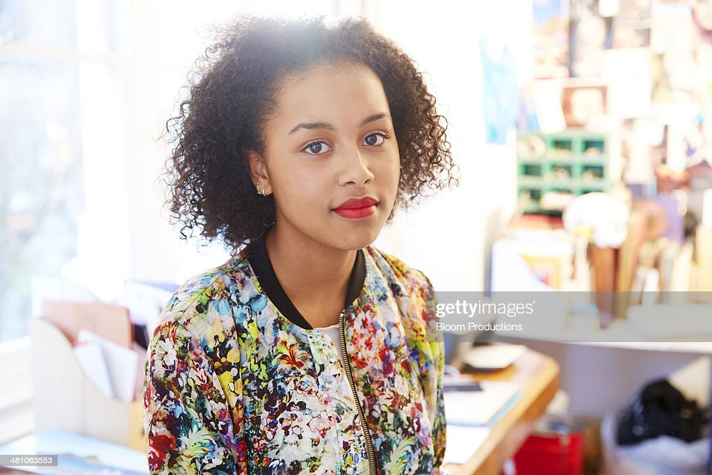 Portrait of late teens mixed race girl : Stock Photo