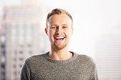 Portrait of laughing businessman