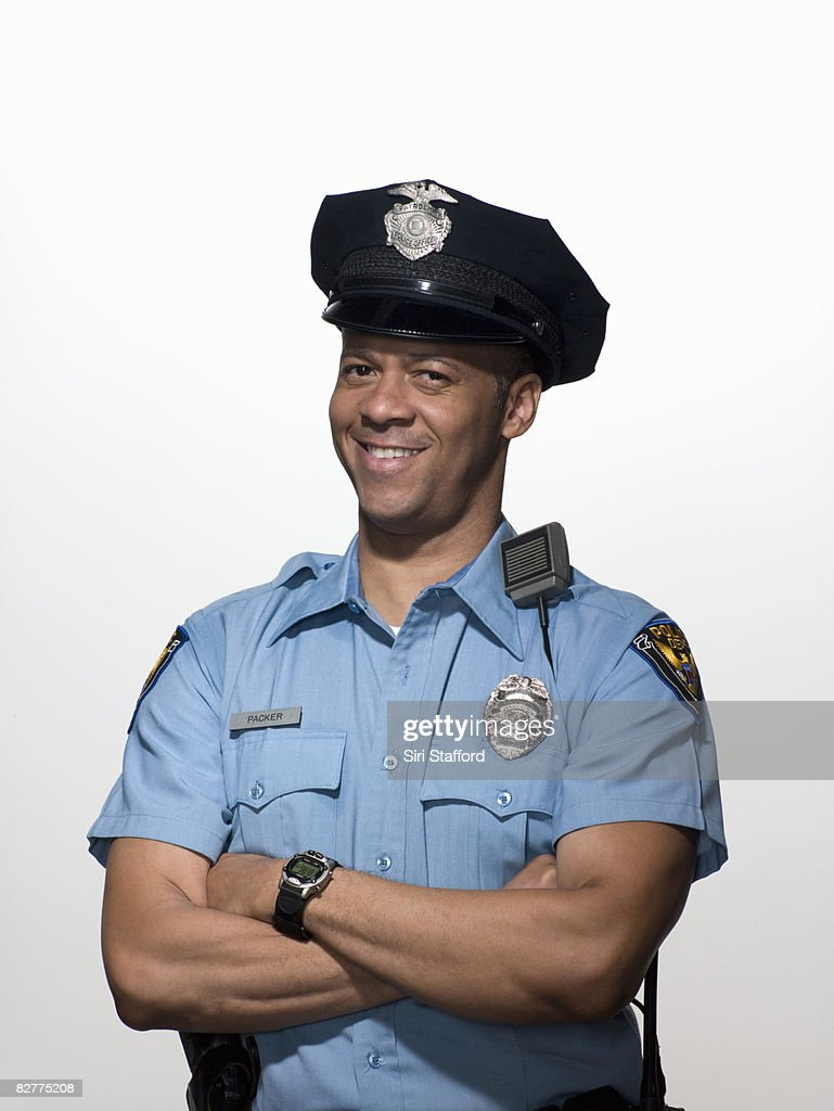 portrait of law enforcement officer, close-up : Stock Photo