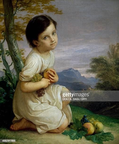 Portrait of Lena Presti with fruit 18301840 painting by Giacomo Trecourt oil on canvas 77x65 cm