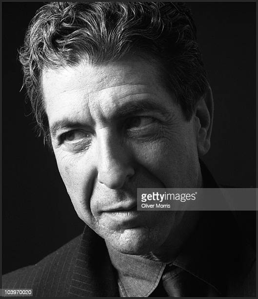 Portrait of Leonard Cohen Canadian poet and singersongwriter plays some of his songs in a small recording studio lower Manhattan New York mid 1980s