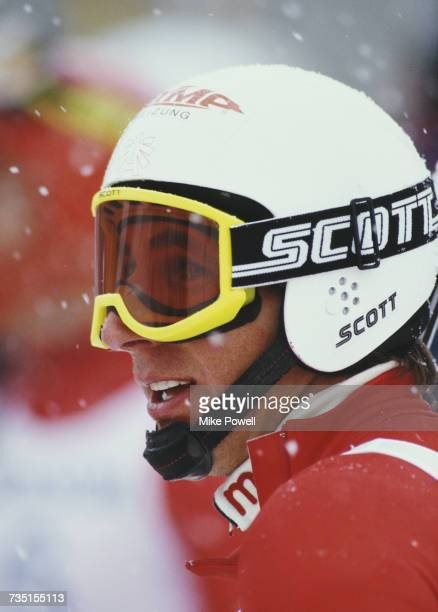A portrait of Leonhard Stock of Austria during the Men's Downhill event of the FIS Alpine Ski World Cup on 14 March 1987 in Nakiska Calgary Alberta...