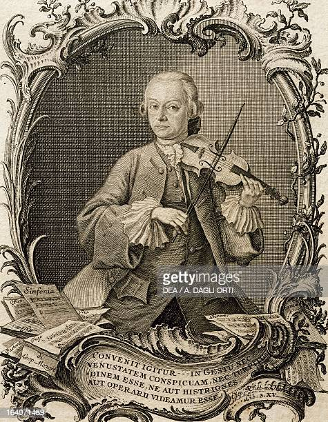 Portrait of Leopold Mozart German violinist and composer father of Wolfgang Amadeus Mozart Engraving by Andreas Fridrich Jacobs Vienna Historisches...