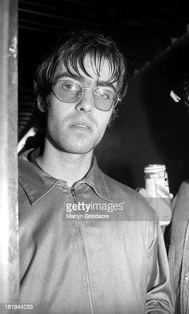 Portrait of Liam Gallagher of Oasis backstage at a music venue in London 1994