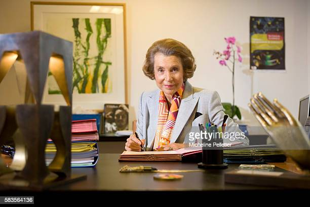 Portrait of Liliane Bettencourt at home in Neuilly Sur Seine She is the principal shareholder of L'Oréal and the wealthiest woman in Europe She is...