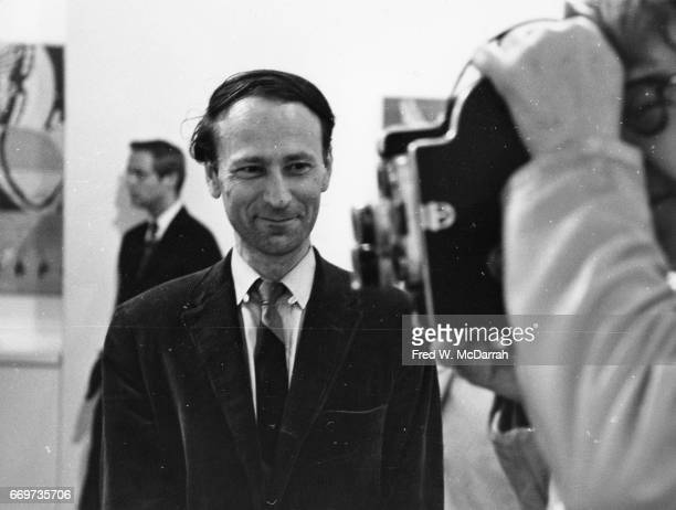 Portrait of Lithuanian American avantgarde film director Jonas Mekas as he smiles and watches an unidentified camera operator New York New York May...