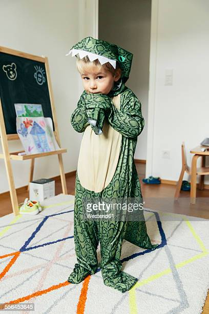 Portrait of little boy wearing dinosaur costume at home