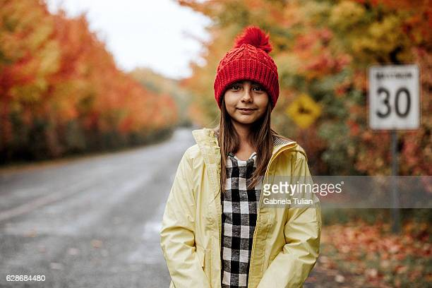 Portrait of little girl during autumn