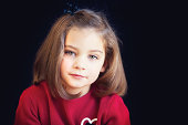 Portrait of little girl in red