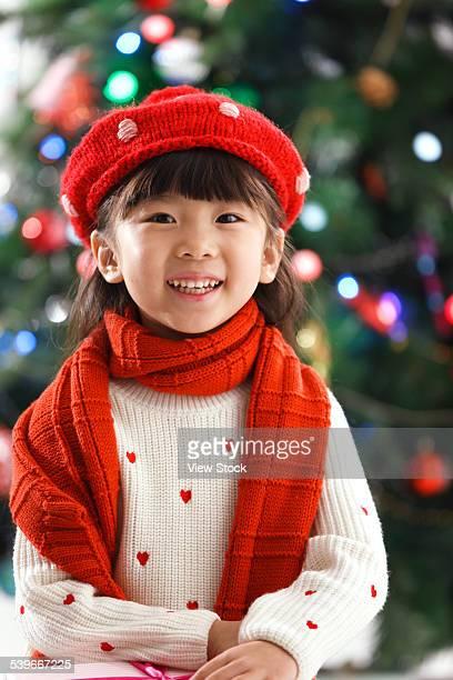 Portrait of little girl on Christmas