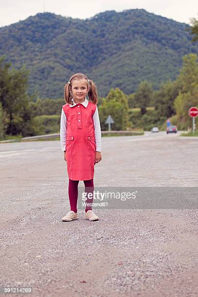 Portrait of little girl with braids wearing red dress