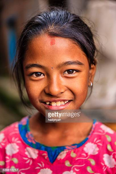 Portrait of little Nepali girl in Bhaktapur