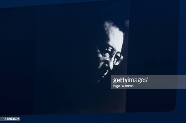 A portrait of Liu Xiaobo is displayed on a screen at the Nobel Peace Prize Concert at Oslo Spektrum on December 11 2010 in Oslo Norway