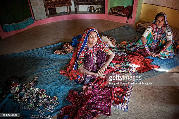 Portrait of local tribal women from the Harijan tribe wearing traditional clothing