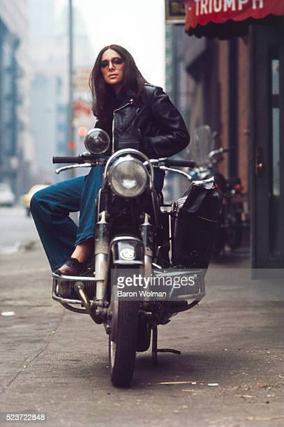 Portrait of Lotti Golden on a bike cult icon of the late 1960s best known for her 1969 debut album MotorCycle on Atlantic Records New York NY 1969