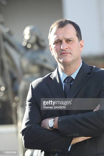 Portrait of Louis Aliot French politician and General Secretary of the farright FN and Marine Lepen's husband at FN headquarter in Nanterre France on...