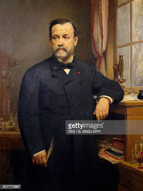 Portrait of Louis Pasteur French chemist biologist and microbiologist painting by Francois Lafon oil on canvas 131x92 cm France late 19th century...