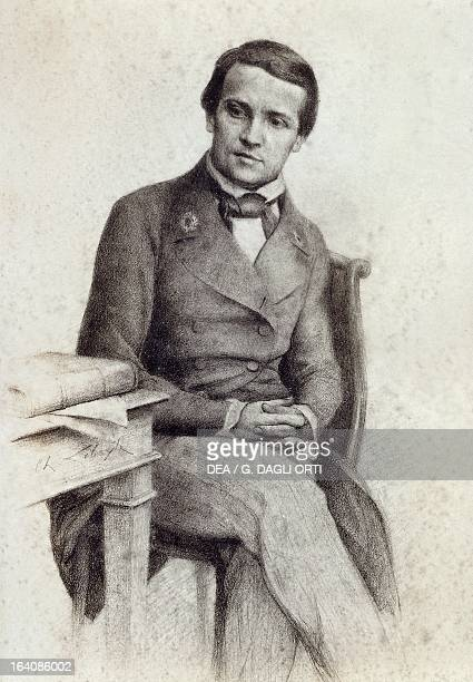 Portrait of Louis Pasteur student at the Normal Superior School of Paris in 1845 Drawing