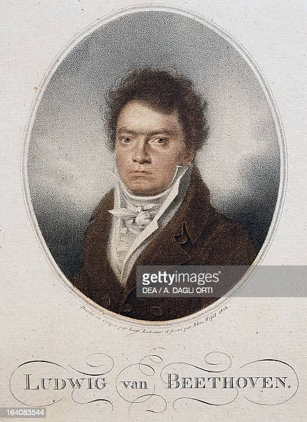 Portrait of Ludwig van Beethoven German composer and pianist Engraving from 1814 by Blasius Hofel Vienna Historisches Museum Der Stadt Wien