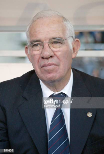 A portrait of Luis Aragones coach of Atletico Madrid as he watches the action during the Primera Liga match between Espanyol and Atletico Madrid...