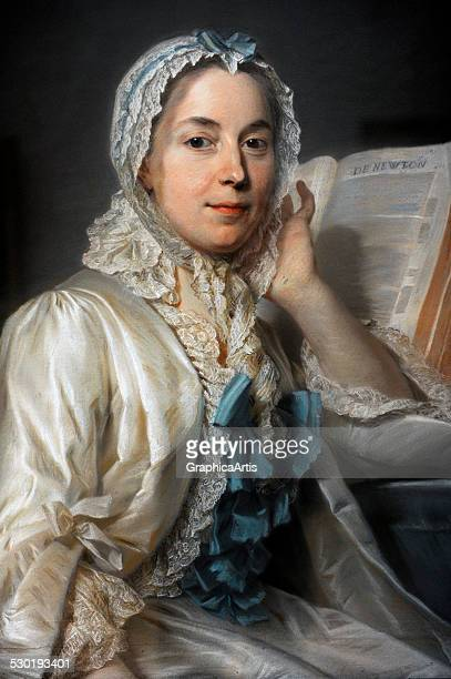 Portrait of Madame Ferrand Meditating on Newton by Quentin de La Tour 1753 Madame Ferrand was part of Isaac Newton's efforts to replace the...