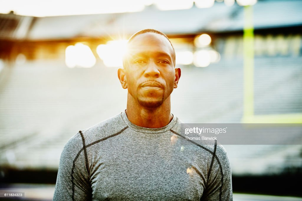 Portrait of male athlete during workout in stadium : Stock Photo