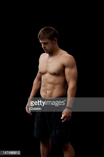 portrait of male athlete in crosssfit gym : Stock Photo