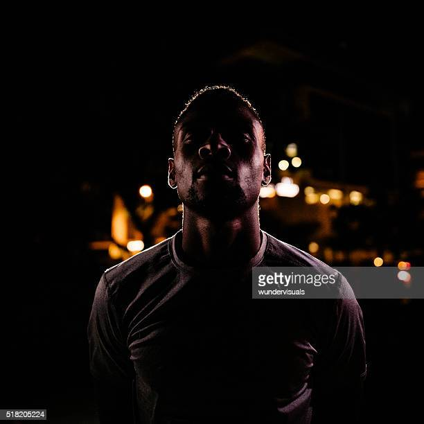 Portrait of Male Basketball Player Challenging to Play in Evening