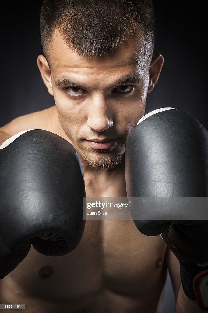 Portrait of male boxer in guard, Close Up : Stock Photo