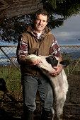 Portrait of male farmer feeding calf, smiling