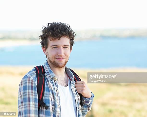 Portrait of male hiker smiling.