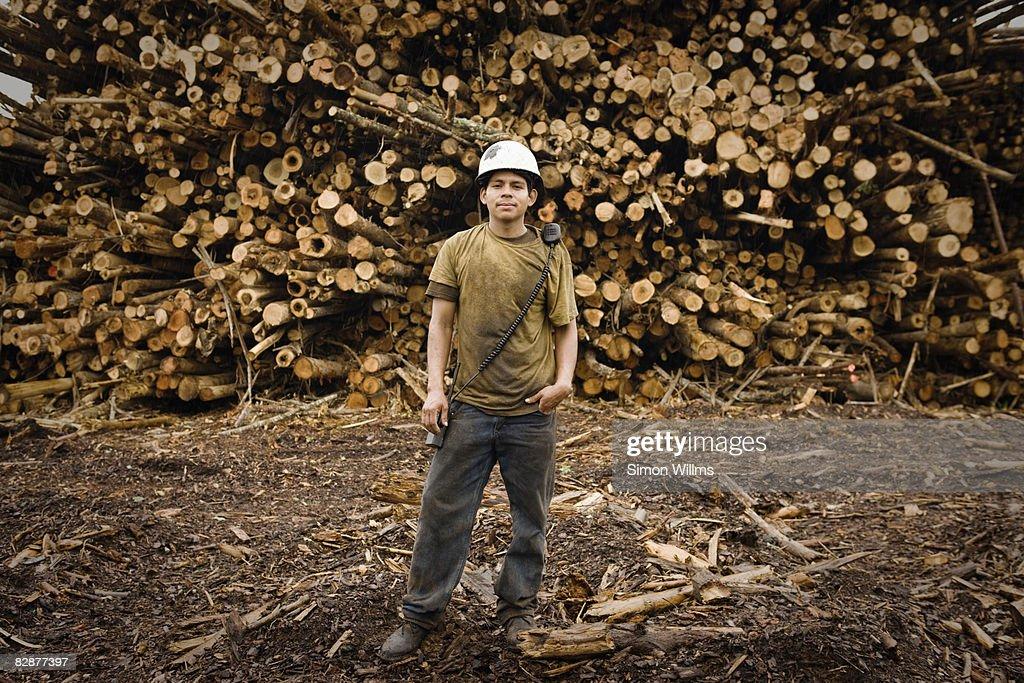 Portrait of male laborer : Stock Photo