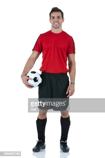 Portrait of man holding a football
