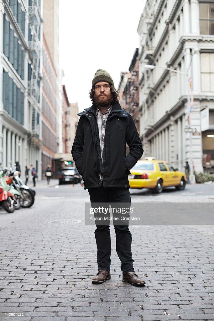 portrait of man in city street : Stock Photo