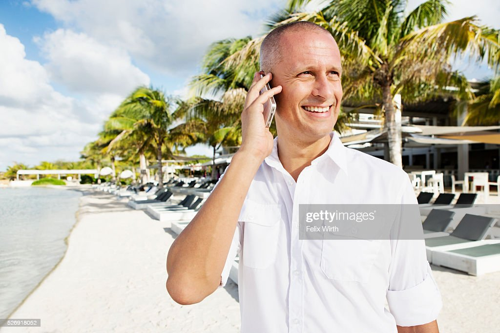Portrait of man in tourist resort : Stock-Foto