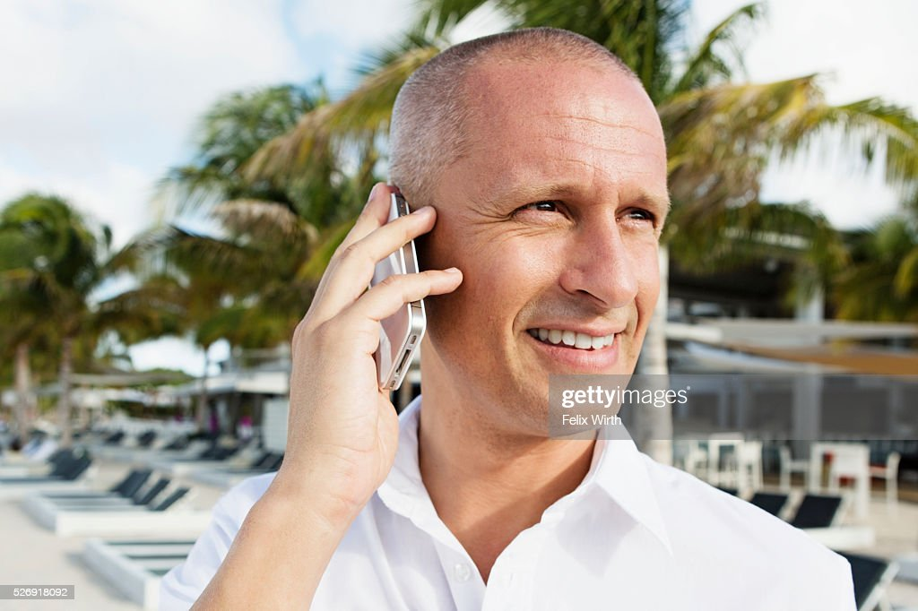 Portrait of man in tourist resort : Photo