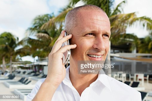 Portrait of man in tourist resort : Stock Photo