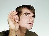 Portrait of man listening