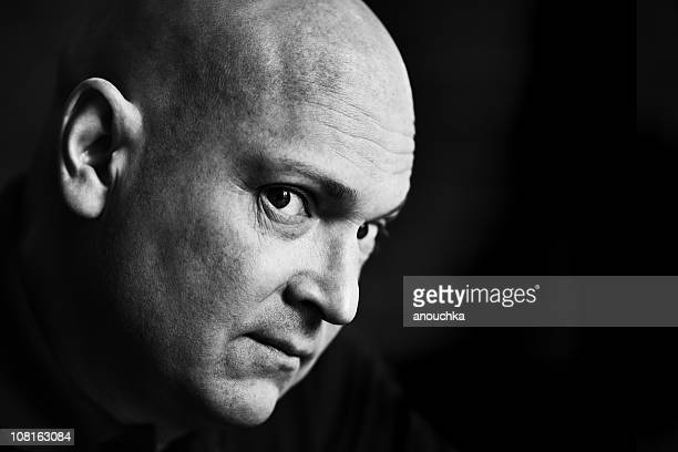Portrait of Man Looking at Camera, Black and White
