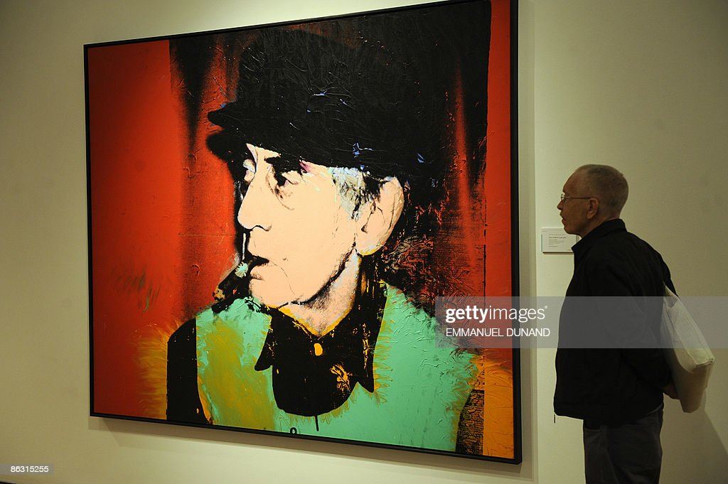 'Portrait of Man Ray' by artist Andy Warhol is on display at Christie's during a press preview of their Post War and Contemporary Art Evening Sales in New York, May 01, 2009. The painting will go under the hammer for an estimated 2-4 million USD on May 13, 2009. AFP PHOTO/Emmanuel Dunand